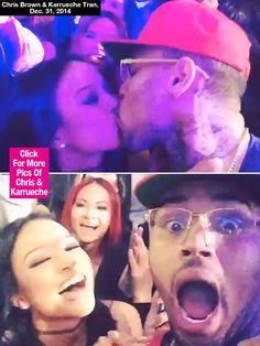 Chris Brown and  Karrueche Tran kiss on NYE