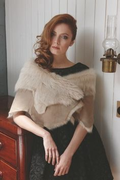 Gushlow & Cole AW13 Lookbook Toscana Burron Loop Shawl   #sheepskin #shearling #madeinengland #gushlowandcole