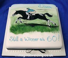 Race Horse and Rider Birthday Cake
