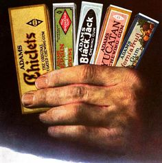 Pick a gum, any gum! ~~~ I remember my Dad liked all these brands. 1920s Advertisements, 1920s Ads, Advertising, Vintage Candy, Vintage Labels, Vintage Posters, Vintage Food, 1920s Food, Old Candy