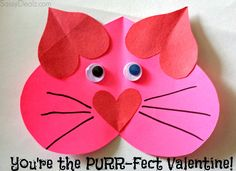 "Valentine Heart Cat Craft For Kids - ""You're The PURR-Fect Valentine!"" #Valentines card 