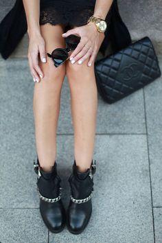 #leather + black lace
