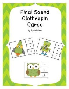 These Final Sound Clothespin cards are great for centers or your small group instruction. Only $2!