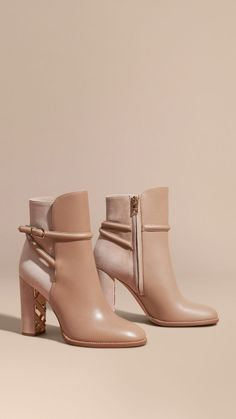 Light nude Strap Detail Leather and Suede Ankle Boots - Burberry - Ivonne - Damenschuhe Suede Ankle Boots, Leather Boots, Heeled Boots, Bootie Boots, Shoe Boots, Shoes Heels, Ankle Booties, Cute Shoes, Me Too Shoes