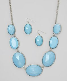Another great find on #zulily! Silver & Turquoise Necklace & Earring Set #zulilyfinds
