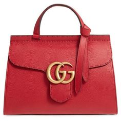 Women's Gucci Gg Marmont Top Handle Leather Satchel ($2,500) ❤ liked on Polyvore featuring bags, handbags, bolsos, borse, volcanic red, red hand bags, satchel handbags, man bag, top handle satchel and gucci purse