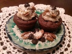 Raina's THM Style S Setting Dessert  German Chocolate Cupcakes. ONLY 1 NET CARB per mini cupcake!!  The frosting was good, but the cupcakes will be a staple in our home! Batter & frosting recipe are in comments! :)