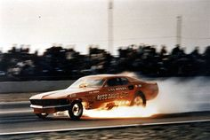 """IT'S GAS!"" Gas Ronda's career-ending fire in the Russ Davis Ford '69 Mustang funny. Beautiful car. One of my favorites..."