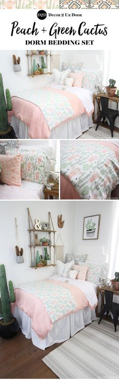 Trendy cactus dorm room. How much do you love this cactus motif inspired dorm bedding set? We love the colors of peach, grey, and green mixed together to create a sunrise setting. Totally Coachella. Desert on, y'all!