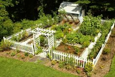 Picket fence, trellis, garden shed, compost bins, white paths...a perfect little vegetable garden!