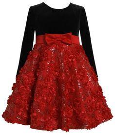 Red Black Velvet Sequin Floral Bonaz Mesh Overlay Dress RD2HA Bonnie Jean Todders Special Occasion Flower Girl Holiday BNJ Social Dress, Red Bonnie Jean,http://www.amazon.com/dp/B00FO787QS/ref=cm_sw_r_pi_dp_f2.Bsb0GCYJ3QRCN