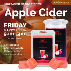 Today's Happy Hour Scent is Apple Cider! Today only not only will you get double reward points from 9 am to 5 pm EST but you also will get 20% off and half off of shipping no coupon needed! Order yours today and start enjoying Fall! www.mandisjic.com/y/33907