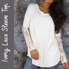 """Ivory Lace-Sleeve Scoop Neck Top Sheer lace sleeves add a touch of romance to this easygoing top! Boasting soft stretch fabric & a lengthy design for versatile layering, it flatters with a wide scoop neck. The lace sleeves don't have a lot of stretch.  • Size S/M ( 4-8 )  • Bust: 34.5""""-36.5""""  • 95% Viscose / 5% Spandex  ✨New With Tags✨ Tops"""