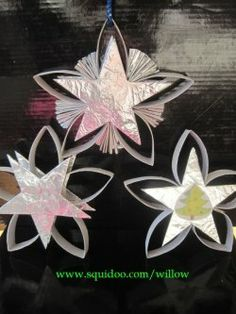 Shiny Christmas tree ornaments made from bath tissue rolls. Great kids project!