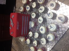 Snap On cake & cupcakes all with white choc tools, bolts & washers by Janie Cakes