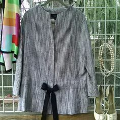 "NWT Talbots Woven Linen Blazer sz 14 New and unworn with tags. Black/white collarless 3/4 sleeve blazer. Waist adjusts with black grosgrain ribbon tie. The Talbot's ""Grace Kelly"" fit. Lined with 100% cotton lining. Dress this up or dress it down or wear to the office. VERSATILE! Next day shipping. Talbots Jackets & Coats Blazers"