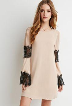 Eyelash Lace-Paneled Trapeze Dress - Dresses - Day - 2000096481 - Forever 21 EU English