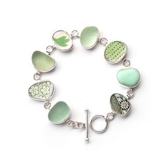 Found Objects - Pale Green Sea Glass and Pottery Shard Bracelet by Tania Covo