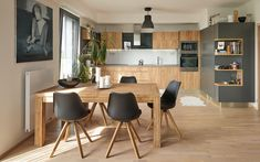 Kuchyně COMFORT v provedení antracit a dub zlatý Conference Room, Dining Room, Kitchen, Table, House, Furniture, Home Decor, Kitchens, Home