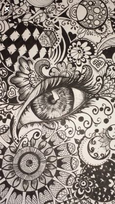 Close up eye zentangle