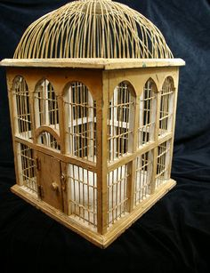 "Vtg. Victorian BIRD CAGE~Square~ WOOD WIRE~DOME-~HINGED Bottom~19""TALL~Wood DOOR"