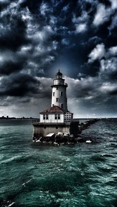 via Lighthouse… Chicago, IL = Imgend.beautiful with the clouds. Magic Places, Beautiful Places, Beautiful Pictures, Lighthouse Pictures, Beacon Of Light, Belle Photo, Cool Photos, Scenery, Around The Worlds