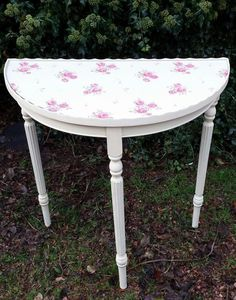 Gl Topped Half Moon Console Table Inlaid With Vintage Rose Design Https Www