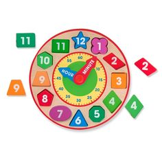 No matter where the color-coded minute and hour hands of this shape sorting wooden clock by Melissa & Doug point, it's always time for learning and fun!