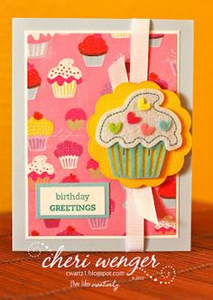 For this traditionally handcrafted card, I used an adorable felt embellishment mounted onto a tied ribbon and scallop floral diecut from yellow Coordinations cardstock. Stamped an old birthday verse with a stamp from Stampin Up!®.  © 2012 Cheri Wenger