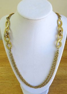Gold tone infinity double long chain necklace, Christmas gift #Chain