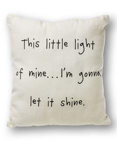 White 'This Little Light of Mine' Throw Pillow