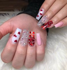 152 super cute valentine's day diy nail designs - 152 super cute valentine'. - 152 super cute valentine's day diy nail designs – 152 super cute valentine's day diy nail de - Ongles Bling Bling, Bling Nails, Dope Nails, Aycrlic Nails, Coffin Nails, Valentine's Day Nail Designs, Acrylic Nail Designs, Heart Nail Designs, Nagel Bling