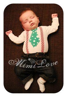 Christmas Tie & Suspenders Applique Onesie by MimiLoveBoutique, $18.00