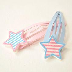 CUTE KAWAII Hair Snap Clips Pastel Glitter Stripe Stars Decora Fairy Kei. $7.50, via Etsy.
