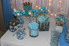 Treat buffet at a Frozen birthday party! See more party planning ideas at CatchMyParty.com!
