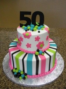 Birthday Cake 50 Year Old Pictures 2 Tier Cakes