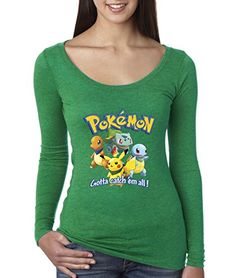 fd22fbbaa Women's Long Sleeve T-Shirt Pokemon GO Starter Pikachu Squirtle Charmander  Bulbasaur Large Envy –