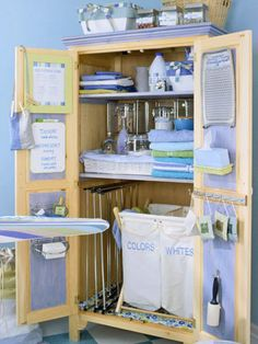 This laundry center has plenty of storage takeaways. Here, wire racks stand alone inside the armoire and put sprayers, glass containers, soaps, and ironing supplies in plain view and within easy reach. A former belt-and-tie organizer screws to the inside of the door to keep fragrant sachets at hand. A dry-erase board communicates the weekly laundry schedule and special care instructions.