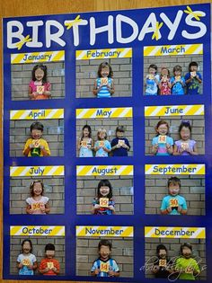 Education/Kindergarten/Preschool Classroom Birthday Picture Chart Free Printable How To Choose The R Classroom Organisation, Classroom Displays, Daycare Organization, Class Displays, Book Displays, Library Displays, Beginning Of School, Back To School, Primary School
