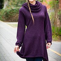 100% alpaca tunic sweater, 'Winter Grape' from @NOVICA, They help #artisans succeed worldwide.