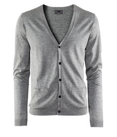 cotton blend cardigan in heather gray