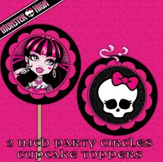 Monster High Pictures To Print | Monster high Printable DIY Custom Cupcake Toppers - Party Circles ...