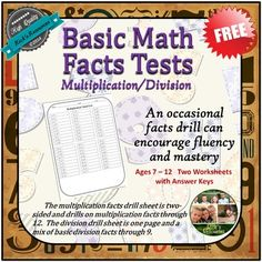 +Multiplication+and+Division+Facts+Drill+Tests+An+occasional+facts+drill+can+encourage+fluency+and+mastery+of+basic+facts.++The+multiplication+facts+drill+sheet+is+two-sided+and+drills+on+multiplication+facts+through+12.++The+division+drill+sheet+is+one+page+and+is+a+mix+of+basic+division+facts+through+9.