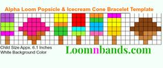 Alpha Loom Popsicle and Icecream Cone Bracelet Template