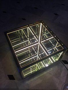 Membrane Half Cube -Spy Mirror Sculpture/ Coffee Table Infin