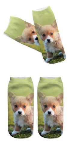 Unisex 3D Printed Cotton Socks Toddler Dog Printed Casual Style 19cm Low Anklet Socks Women Calcetines Chaussettes