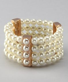 Take a look at this Vintage Gold & Pearl Bar Stretch Bracelet by Lolita on #zulily today!