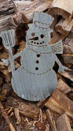 Vintage Style Corrugated Snowman Metal Sign by RockinBTradingCo