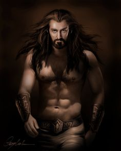"Middle-earth: #Thorin #Oakenshield (#Richard #Armitage), ""The Hobbit.""  ""Thorin,"" by Aegileif, at deviantART."