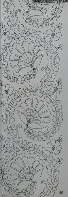 Border Embroidery Designs, Floral Embroidery Patterns, Hand Work Embroidery, Hand Embroidery Stitches, Embroidery Fashion, Embroidery Techniques, Beaded Embroidery, Saree Painting Designs, Textile Pattern Design
